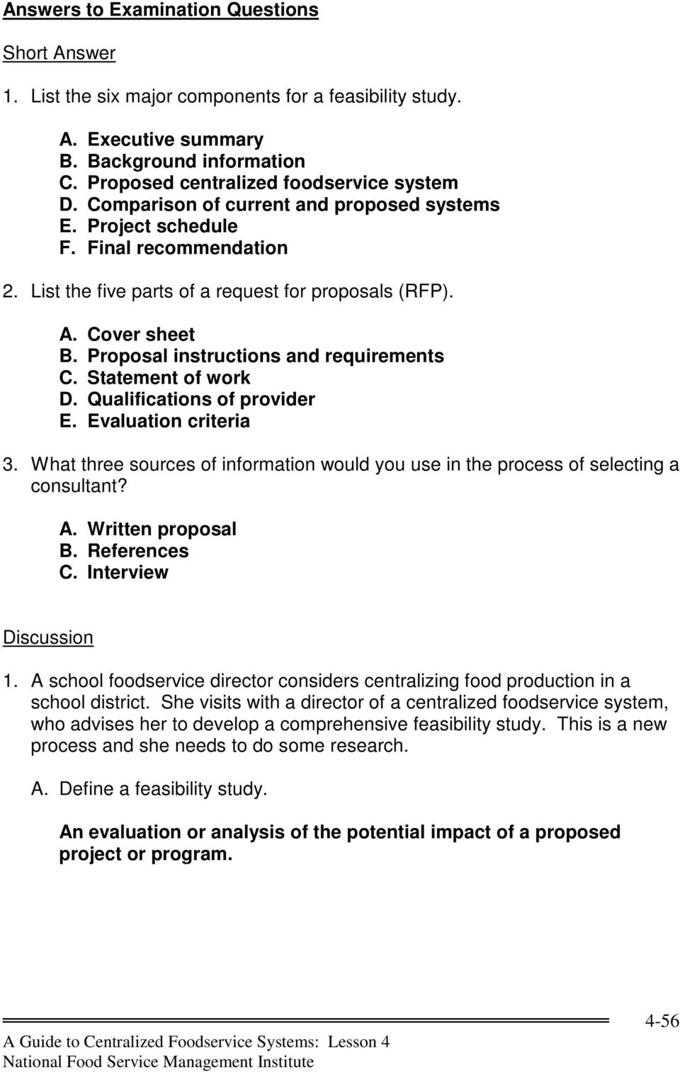 Proposal instructions and requirements C. Statement of work D.  Qualifications of provider E.