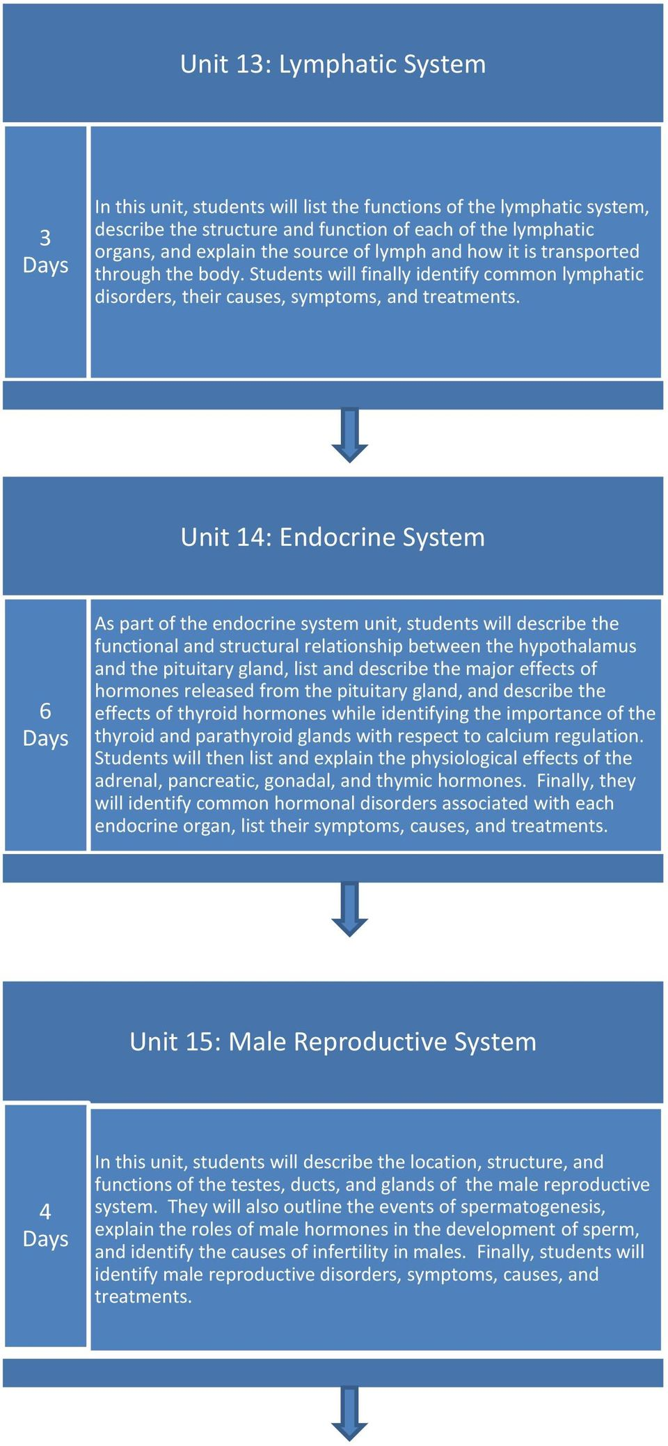 Unit 14: Endocrine System 6 As part of the endocrine system unit, students will describe the functional and structural relationship between the hypothalamus and the pituitary gland, list and describe