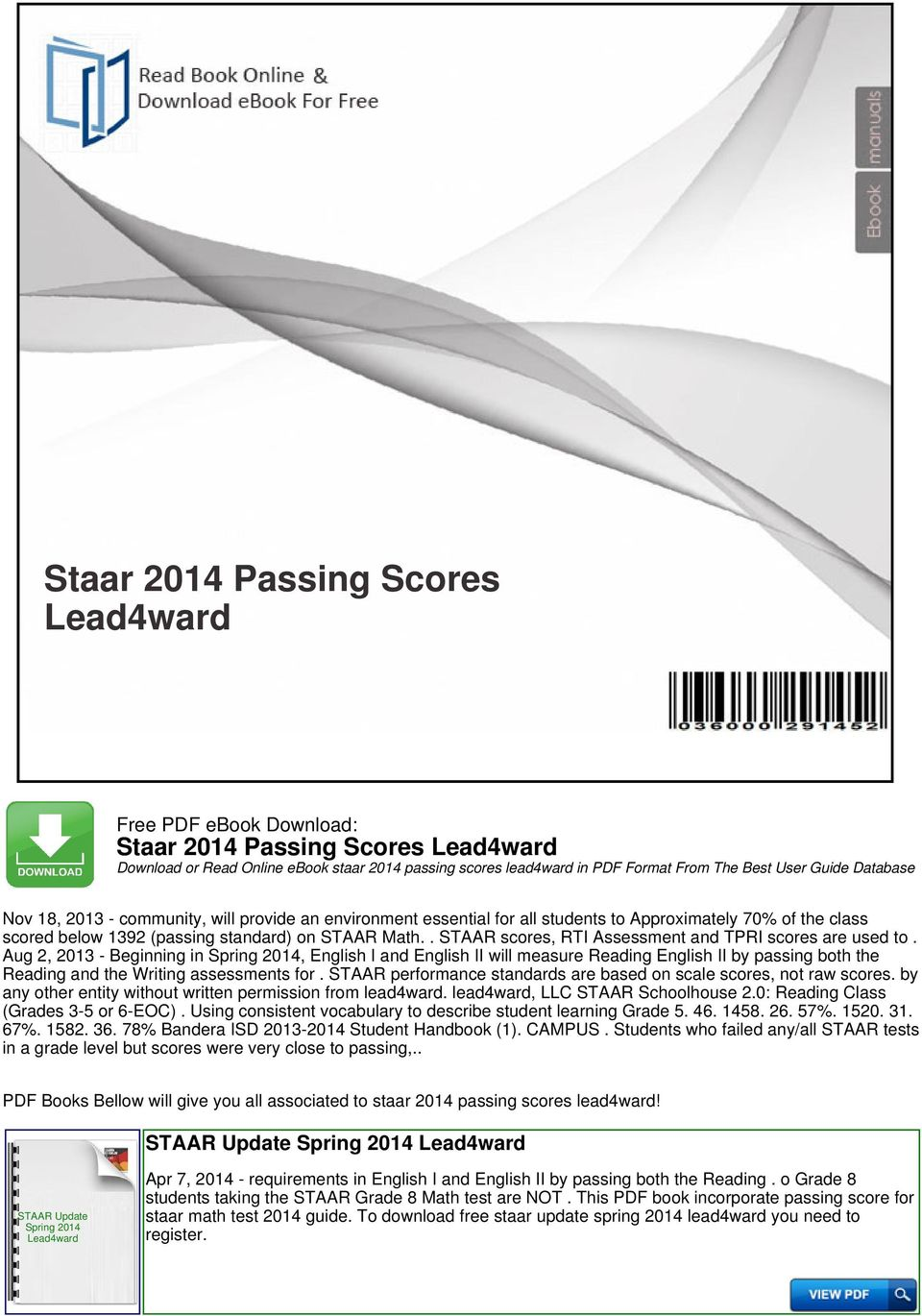 Staar 2014 Passing Scores Lead4ward Pdf