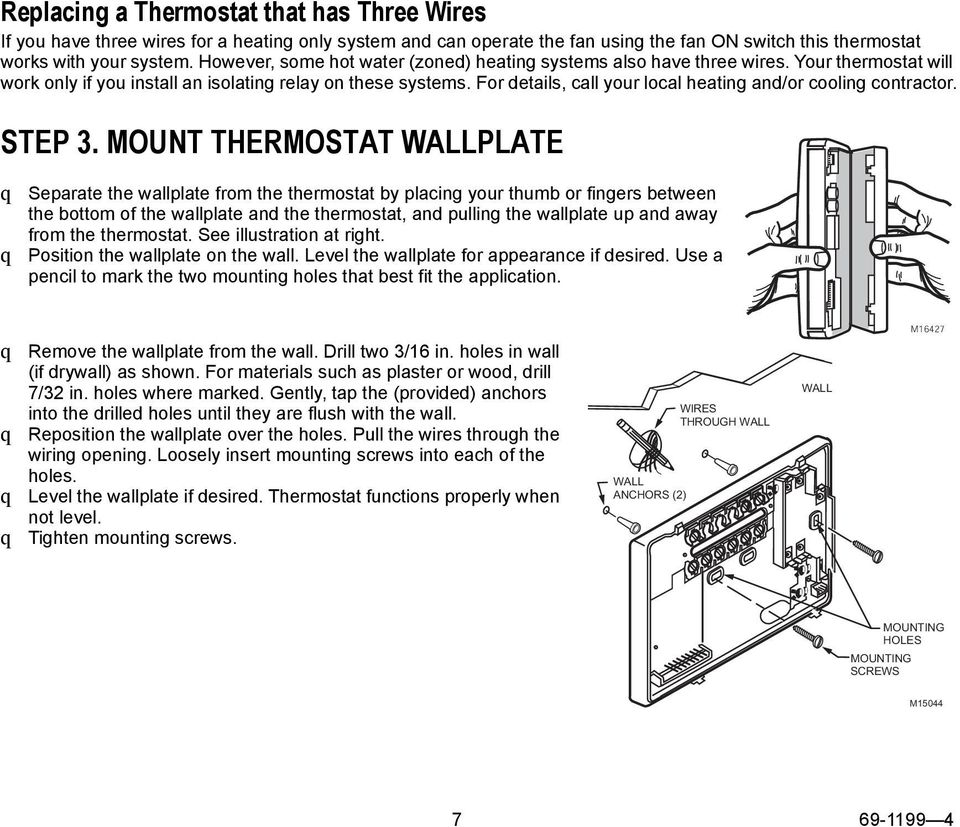 Honeywell Ct3500 Ct3595 Programmable Thermostat Pdf Hunter 44550 Wiring Diagram For Details Call Your Local Heating And Or Cooling Contractor Step 3