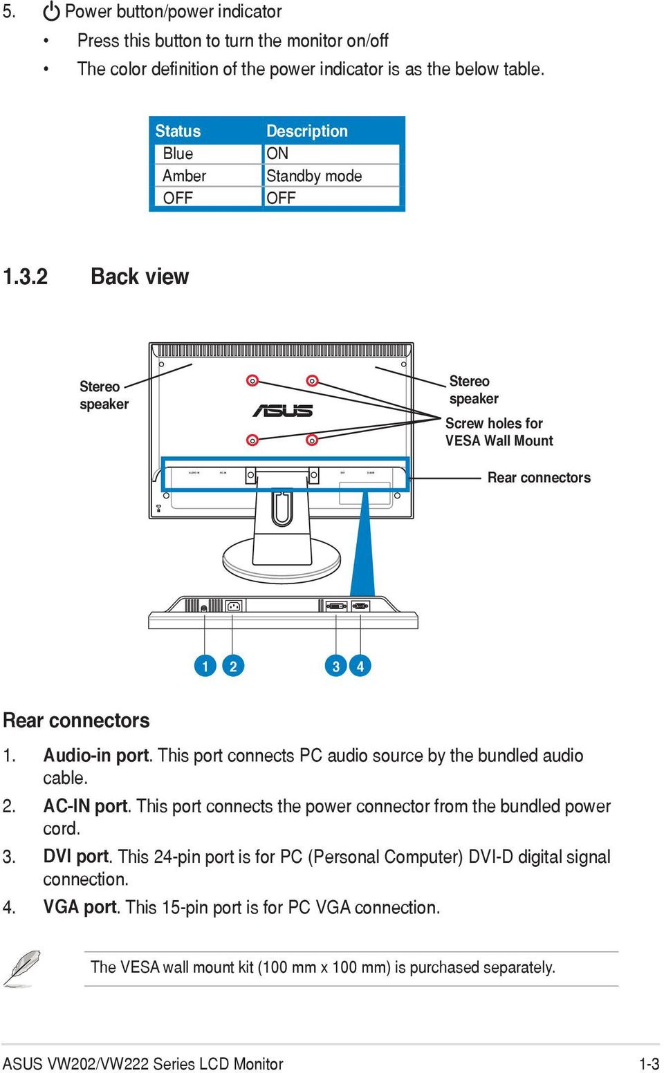 Vw202 Vw222 Series Lcd Monitor User Guide Pdf Asus Power Button Wiring Diagram Audio In Port This Connects Pc Source By The Bundled Cable