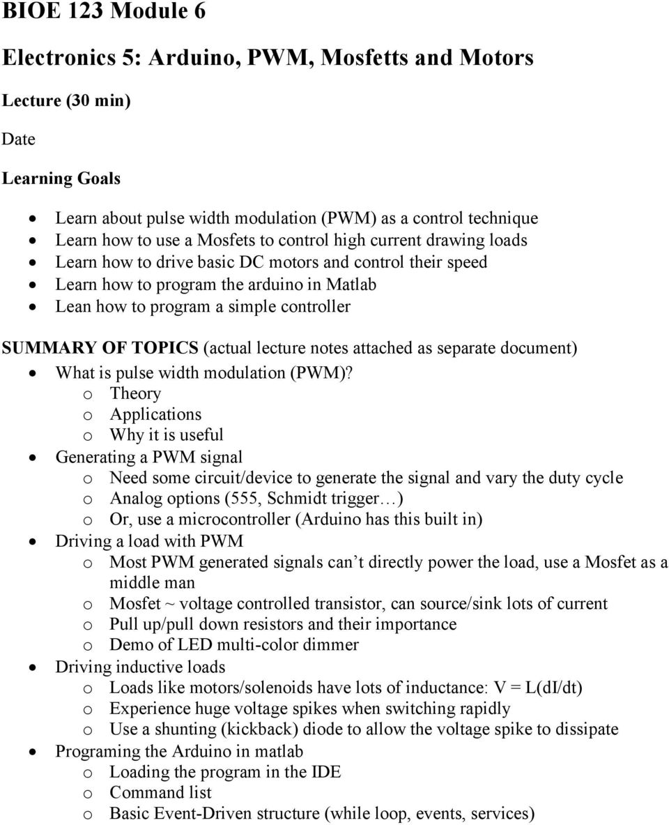 Electronics 5 Arduino Pwm Mosfetts And Motors Pdf Is A Circuit To Control Motor Speed Uses Pulse Width Modulation Actual Lecture Notes Attached As Separate Document What