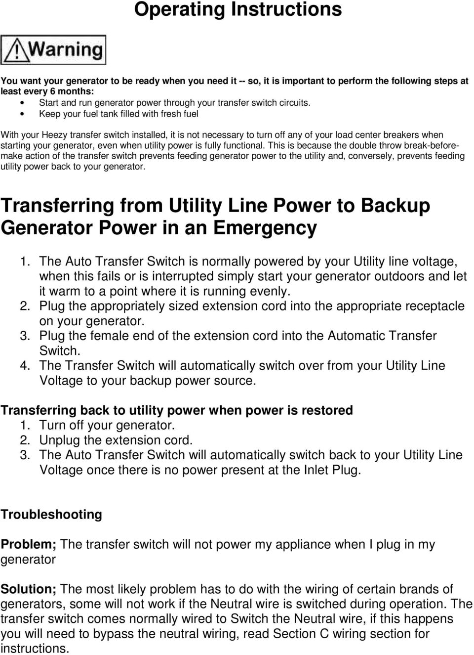 Generator Transfer Switch Model Hts15 Auto Pdf Extension Cord Circuit Breaker From Searscom Keep Your Fuel Tank Filled With Fresh Heezy Installed It