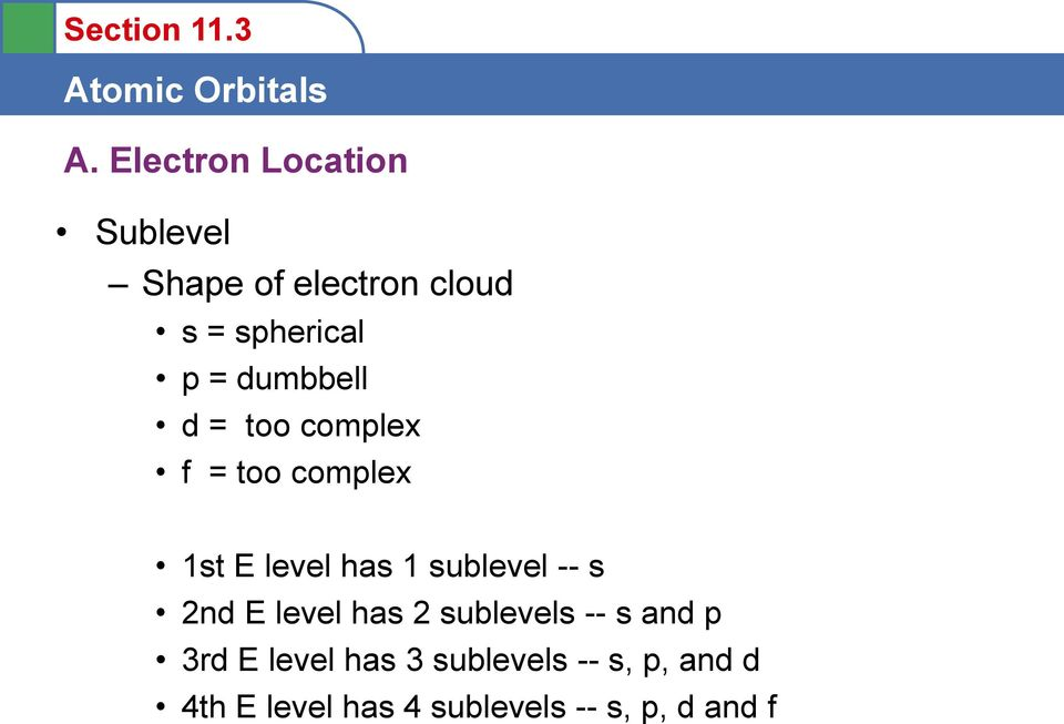 sublevel -- s 2nd E level has 2 sublevels -- s and p 3rd E level