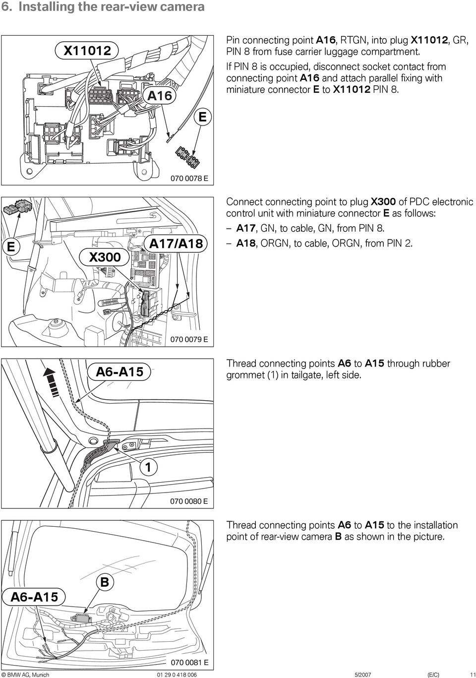 Original Bmw Accessories Installation Instructions Pdf E83 Relase Hatch Switch Wiring Diagrams E Connect Connecting Point To Plug X300 Of Pdc Electronic Control Unit