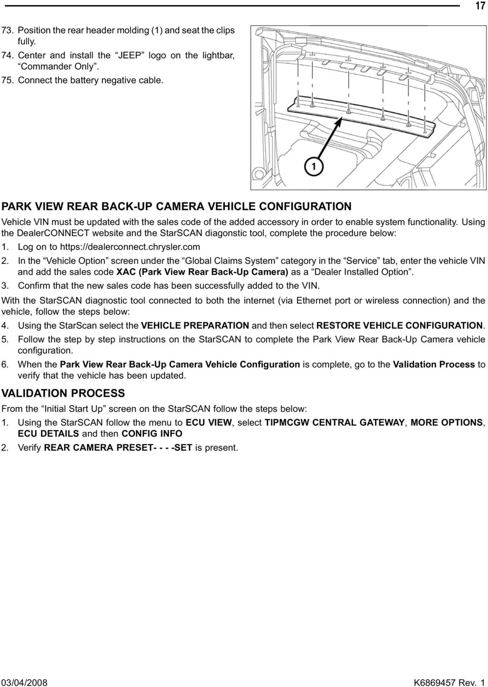 Backup Camera Jeep Commander Grand Cherokee Pdf How To Install A Trailer Hitch Wiring Harness Using The Dealerconnect Website And Starscan Diagonstic Tool Complete Procedure Below 1