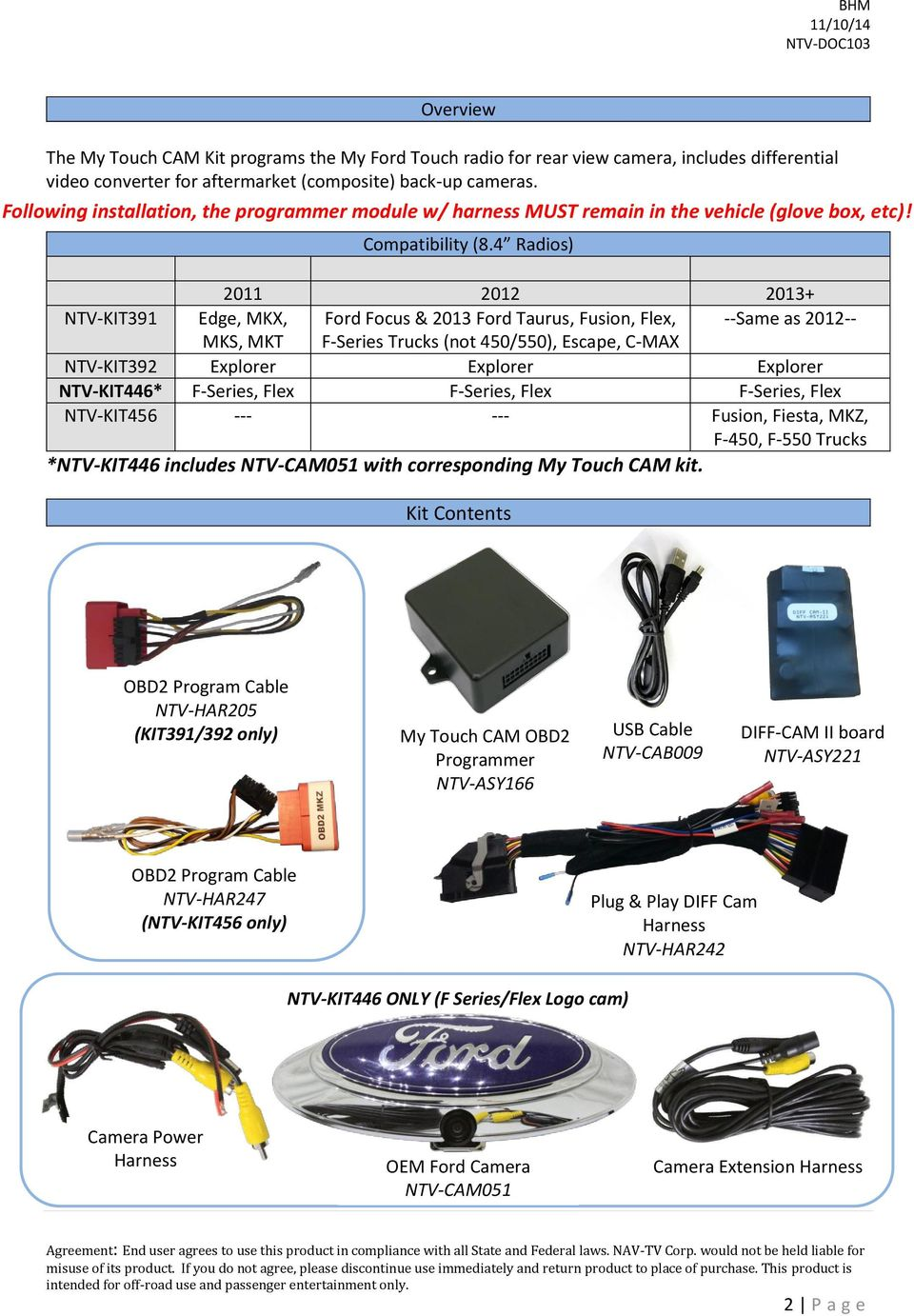 My Touch Cam Ford Rear Camera Integration Kit For 84 Wire Harness 4 Radios 2011 2012 2013 Ntv Kit391 Edge Mkx Focus