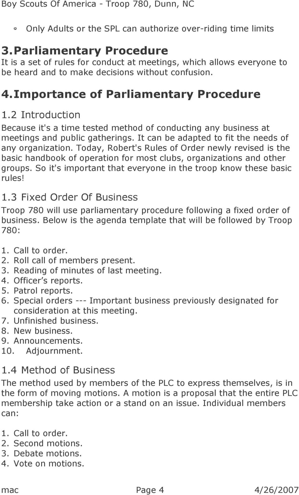 Robert's Rules Of Order Agenda Template from docplayer.net