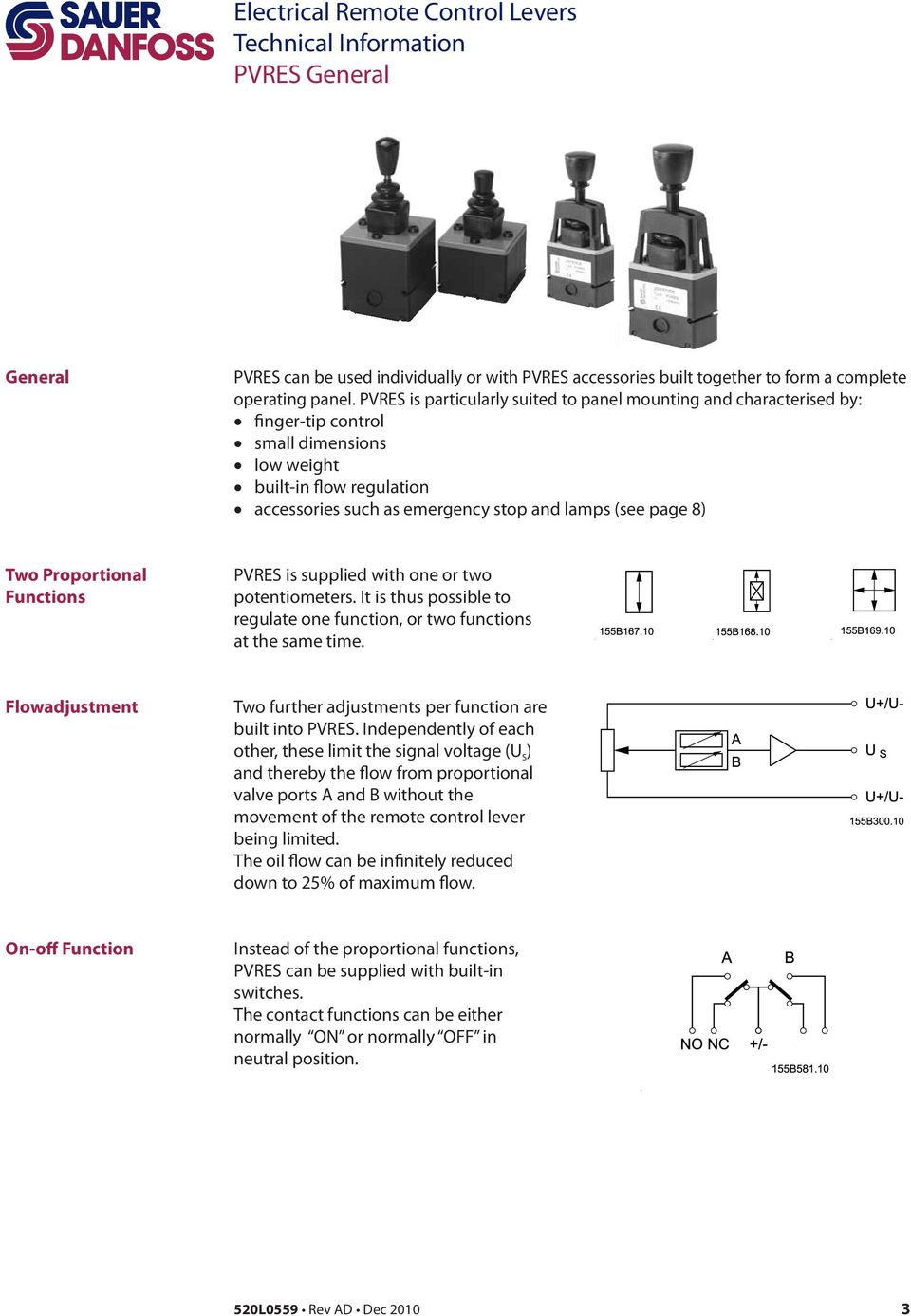 Joystick Pvres And Pvrel Technical Information Pdf Wiring Diagram 51 19 Two Proportional Functions Is Supplied With One Or Potentiometers It Thus Possible