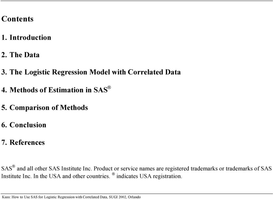 How to use SAS for Logistic Regression with Correlated Data - PDF