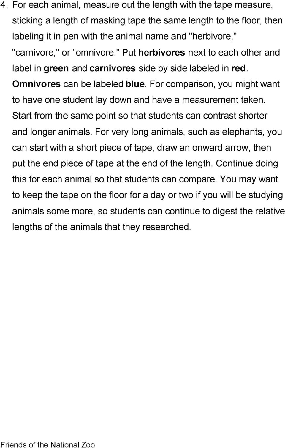 For comparison, you might want to have one student lay down and have a measurement taken. Start from the same point so that students can contrast shorter and longer animals.
