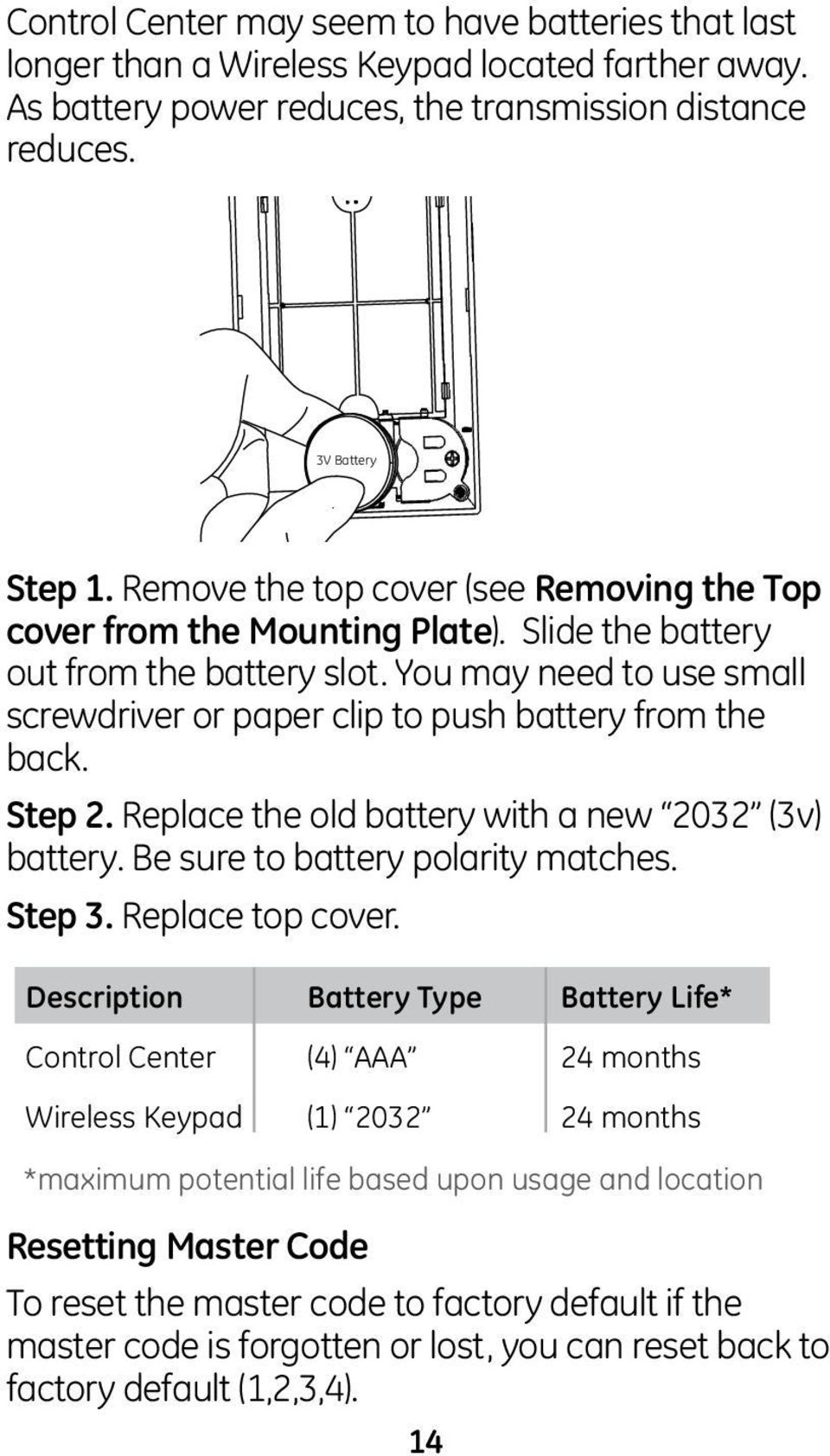 You may need to use small screwdriver or paper clip to push battery from the back. Step 2. Replace the old battery with a new 2032 (3v) battery. Be sure to battery polarity matches. Step 3.