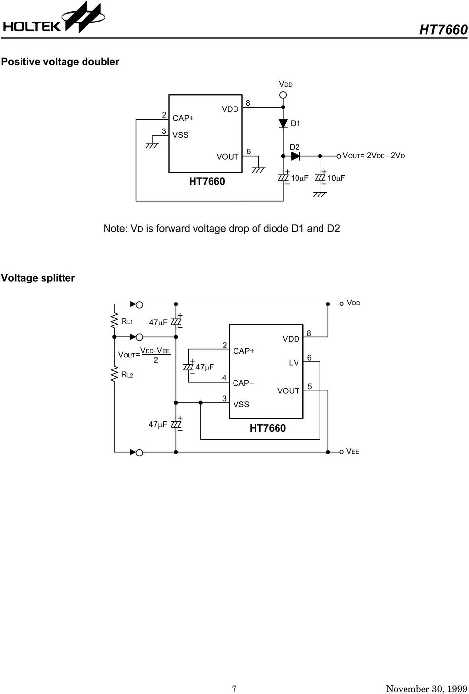 Ht7660 Cmos Switched Capacitor Voltage Converter Features Lm555 Lm555c Timer Circuits E A Splitter 4 8 7 6