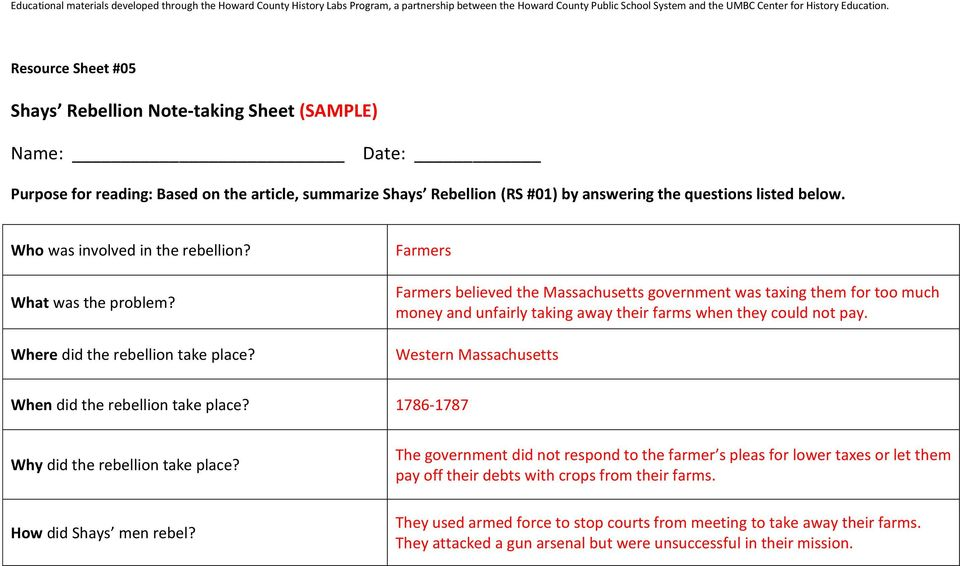 Shays Rebellion Task Question How Did The Leaders Of The American