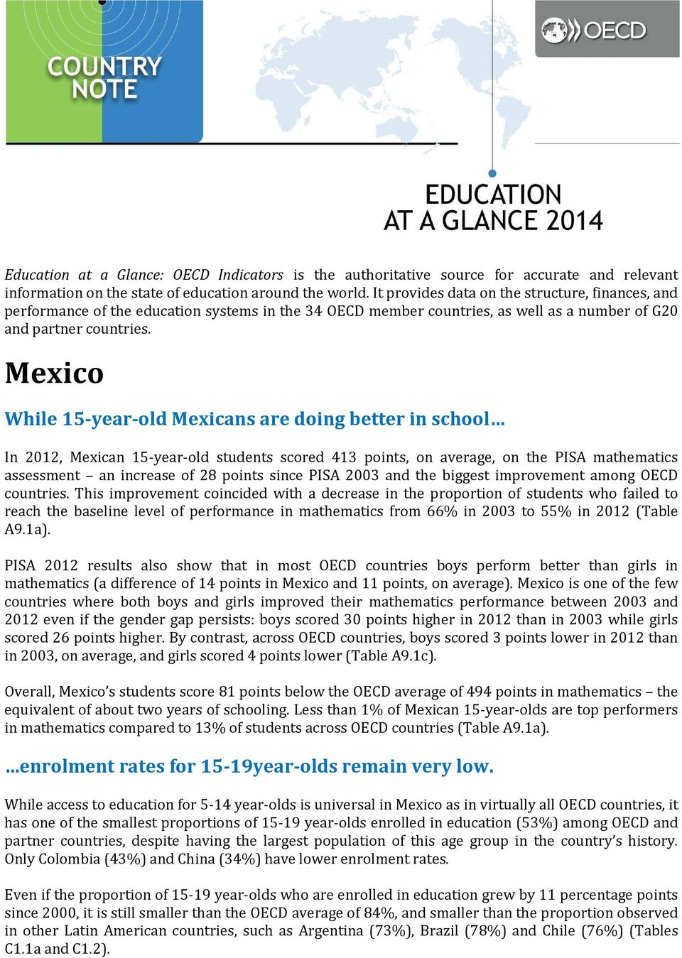 While 15-year-old Mexicans are doing better in school In 2012, Mexican 15-year-old students scored 413 points, on average, on the PISA mathematics assessment an increase of 28 points since PISA 2003