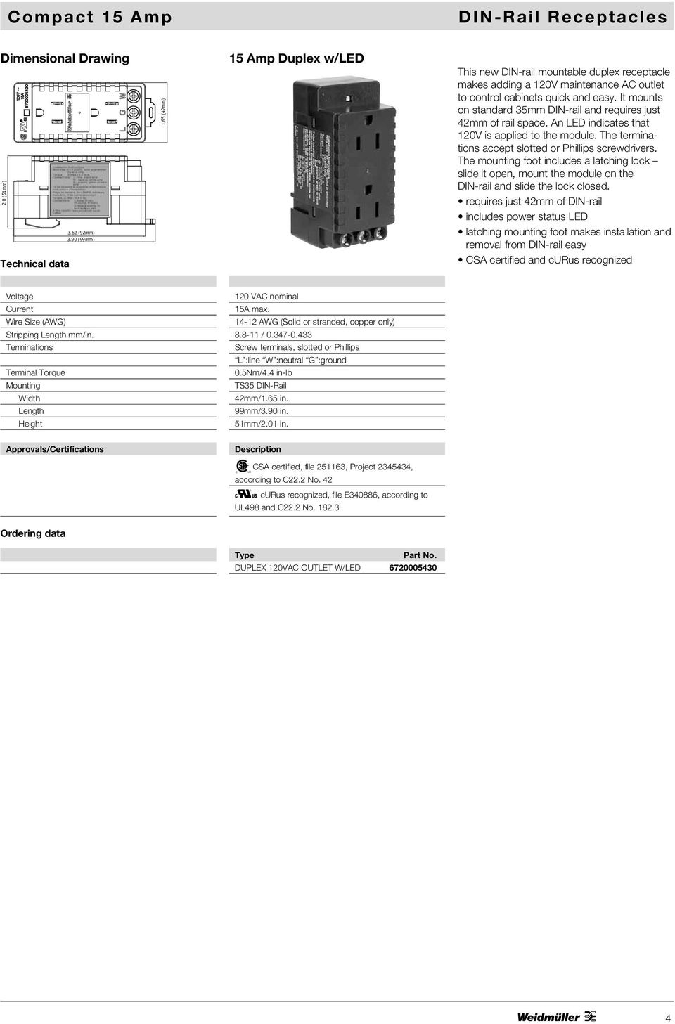 Datasheet Ac Outlet Din Rail Mountable Receptacles Pdf Gfci Receptacle With Led Screw Mount 125 Volt 20 Amp 2pole 3 It Mounts On Standard 35mm And Requires Just 42mm Of Space