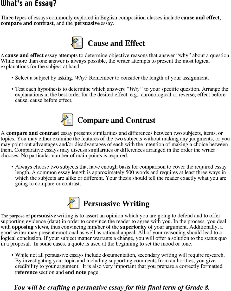 Essay Writing Grade 8 Model - PDF
