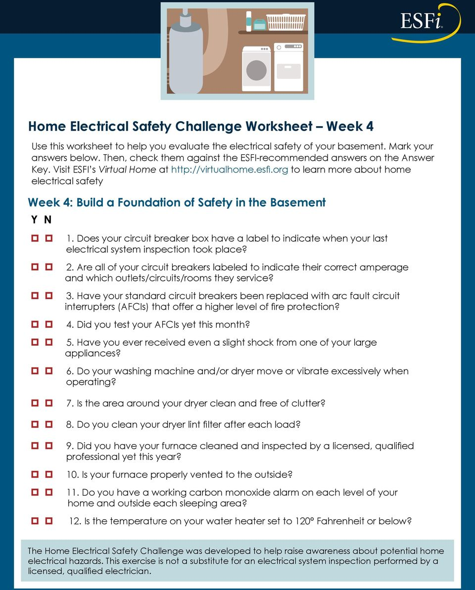 Home Electrical Safety Challenge Pdf Effective January 1 2014 Arcfault Circuitinterrupters Afcis Will Are All Of Your Circuit Breakers Labeled To Indicate Their Correct Amperage And Which Outlets