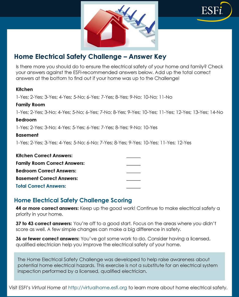 Home Electrical Safety Challenge Pdf Kitchen New Wiring 1 Yes 2 3 4