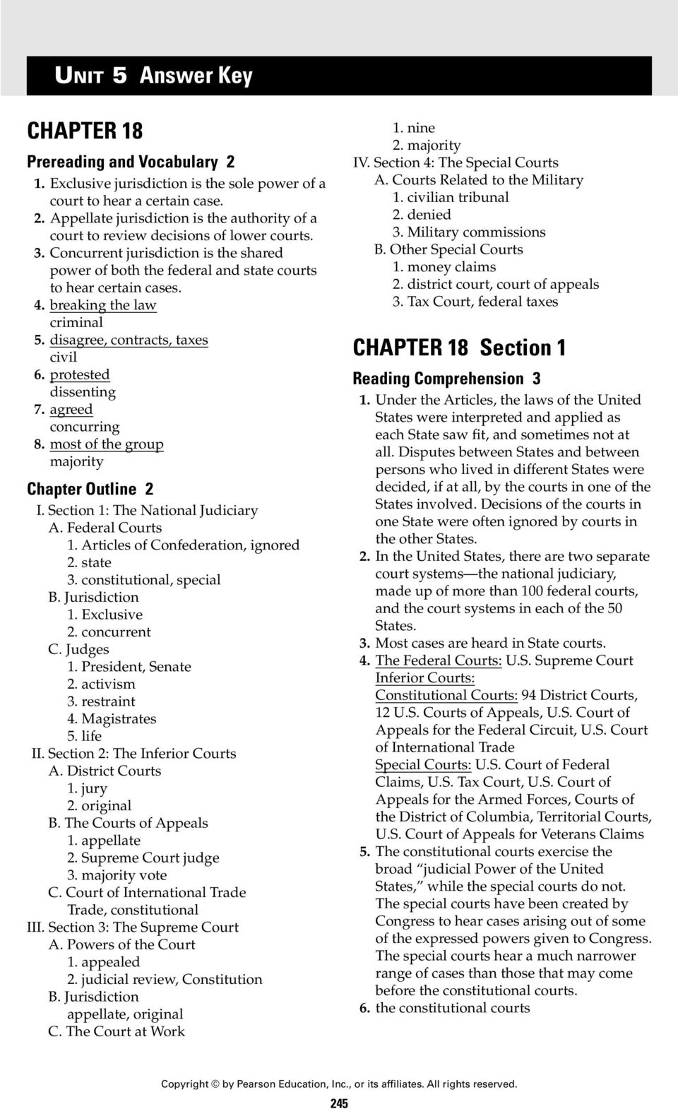 the inferior courts and the special courts worksheet answers