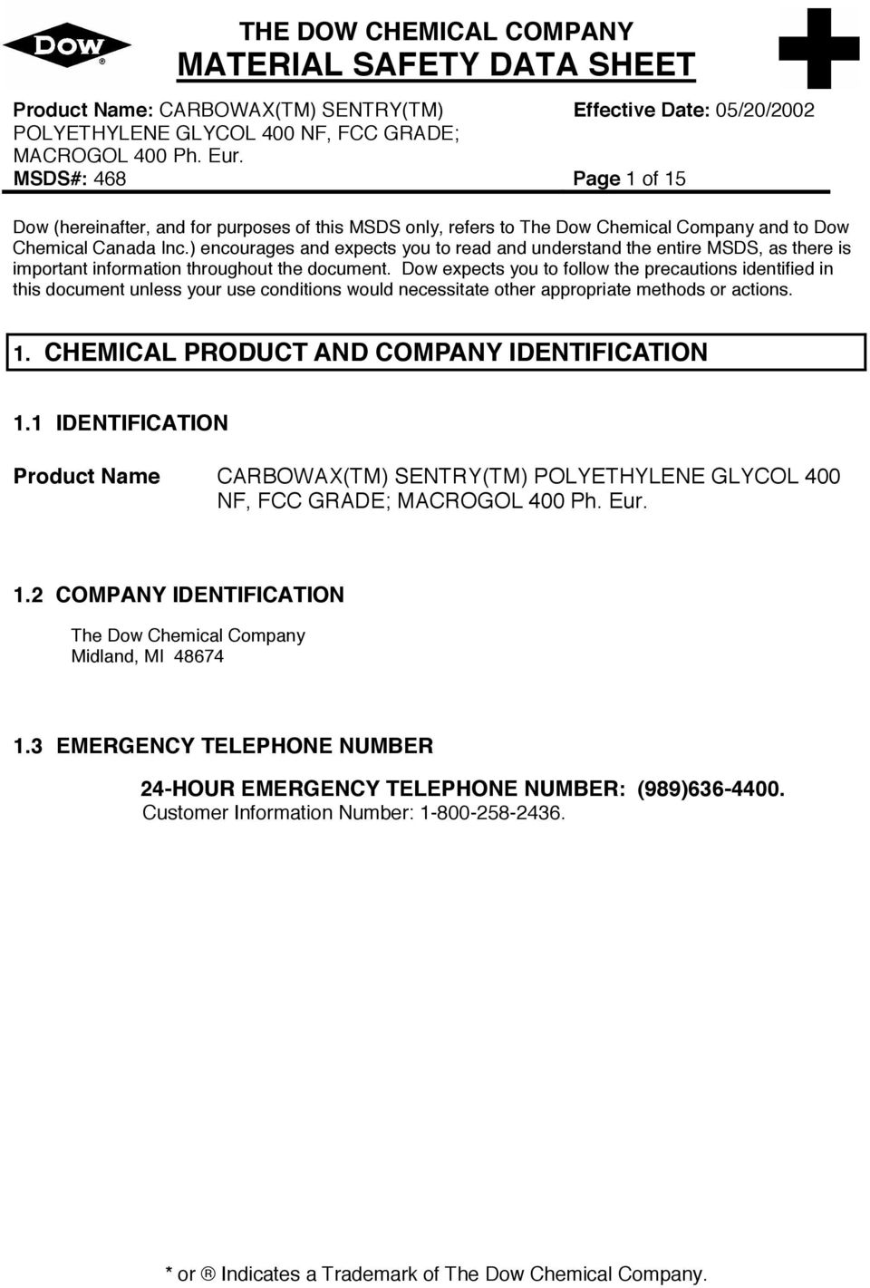 THE DOW CHEMICAL COMPANY MATERIAL SAFETY DATA SHEET - PDF