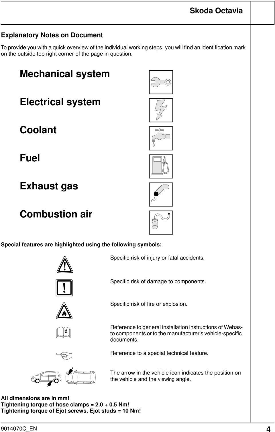 Always Follow All Webasto Installation And Repair Instructions Skoda Rapid Fuse Box Diagram Specific Risk Of Damage To Components Fire Or Explosion Reference