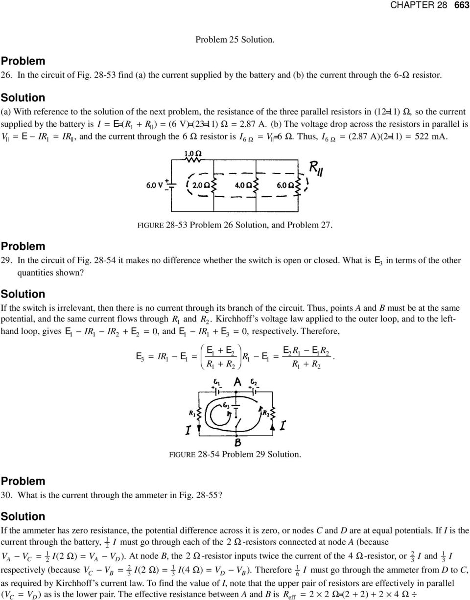 Chapter 28 Electric Circuits Pdf Circuit Solving Tutorial 5 87 A B The Voltage Drop Across Resistors In Parallel