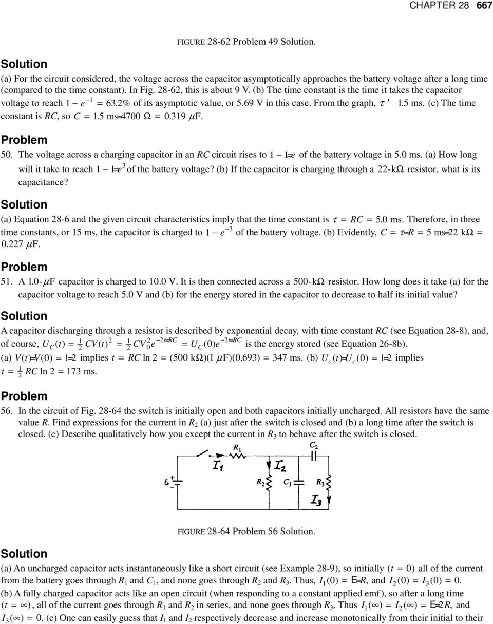 Chapter 28 Electric Circuits Pdf Charging A 500 F Capacitor It Charges Up C The Time Constant Is Rc So 1 5 Ms