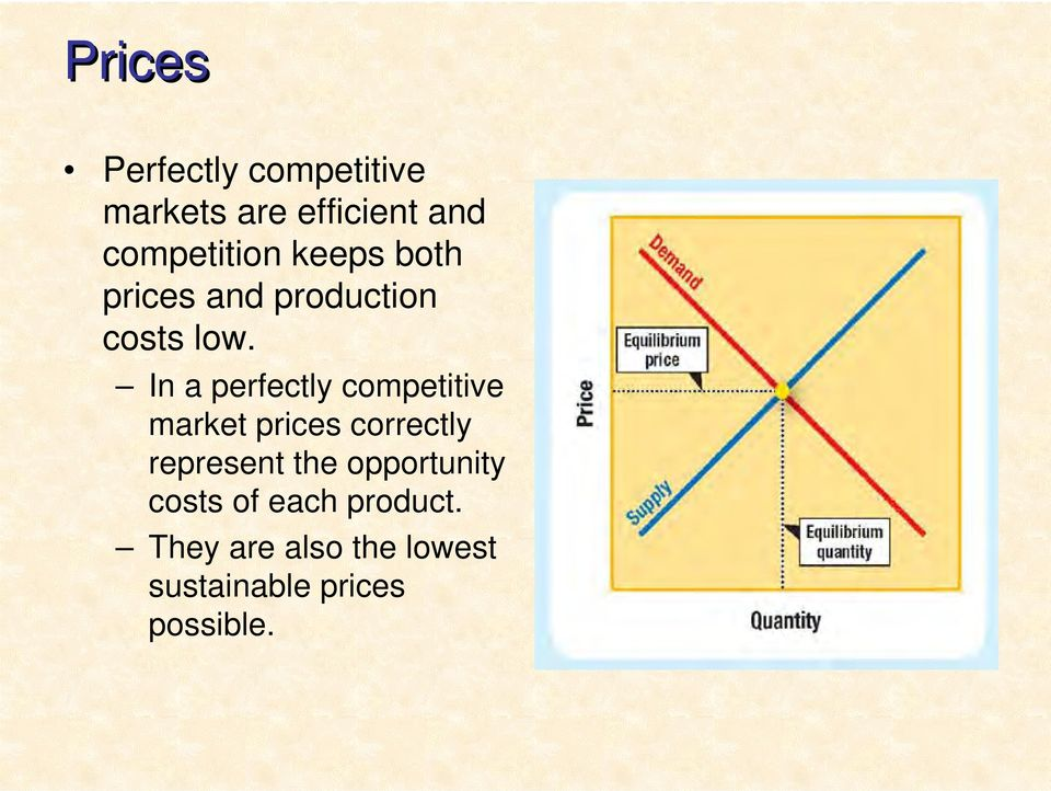 In a perfectly competitive market prices correctly represent the