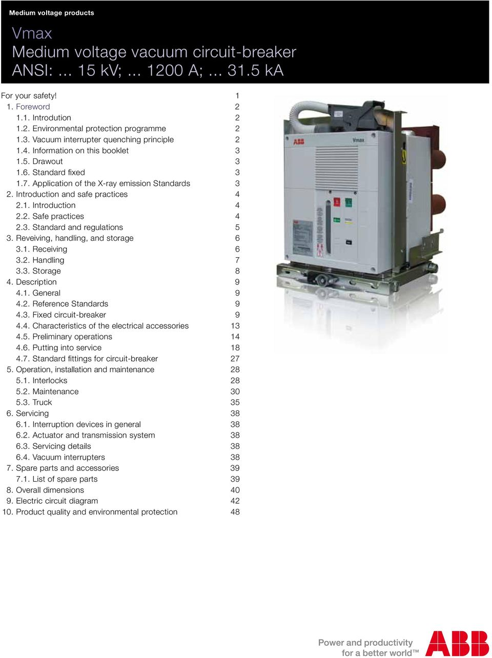 Vmax Medium voltage vacuum circuit-breaker ANSI: kv; A; ka - PDF on