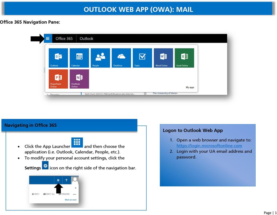 To modify your personal account settings, click the Logon to Outlook Web App 1.