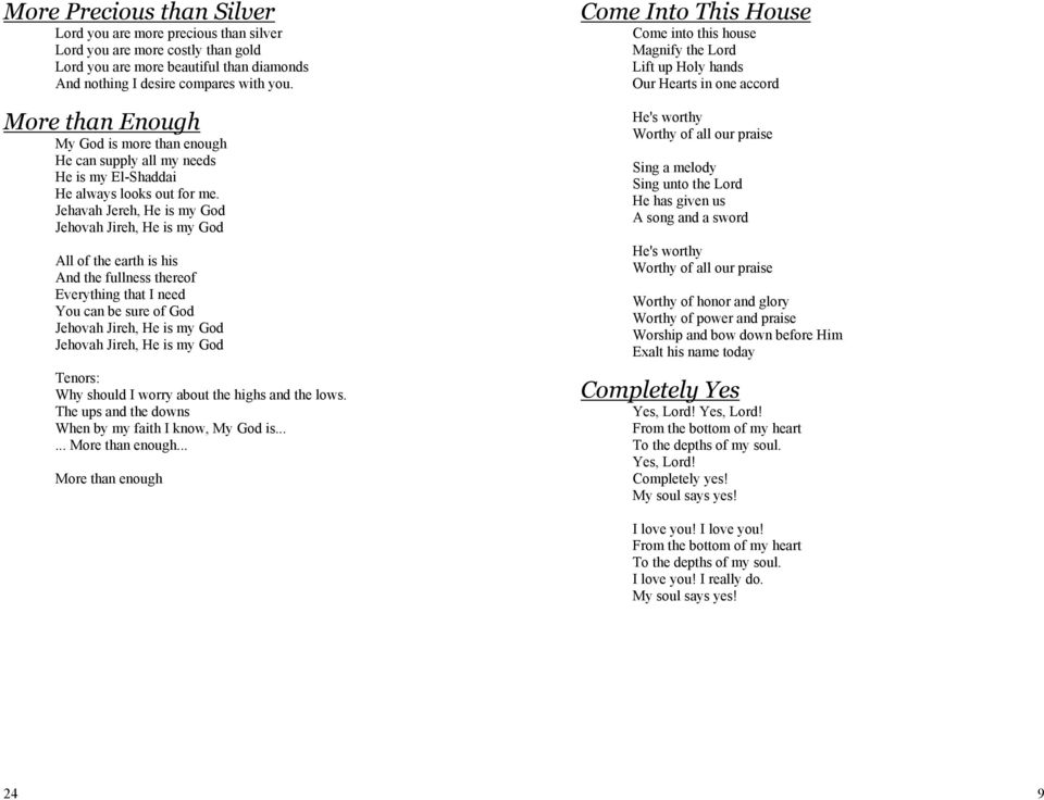 Supplementary Song Booklet - PDF