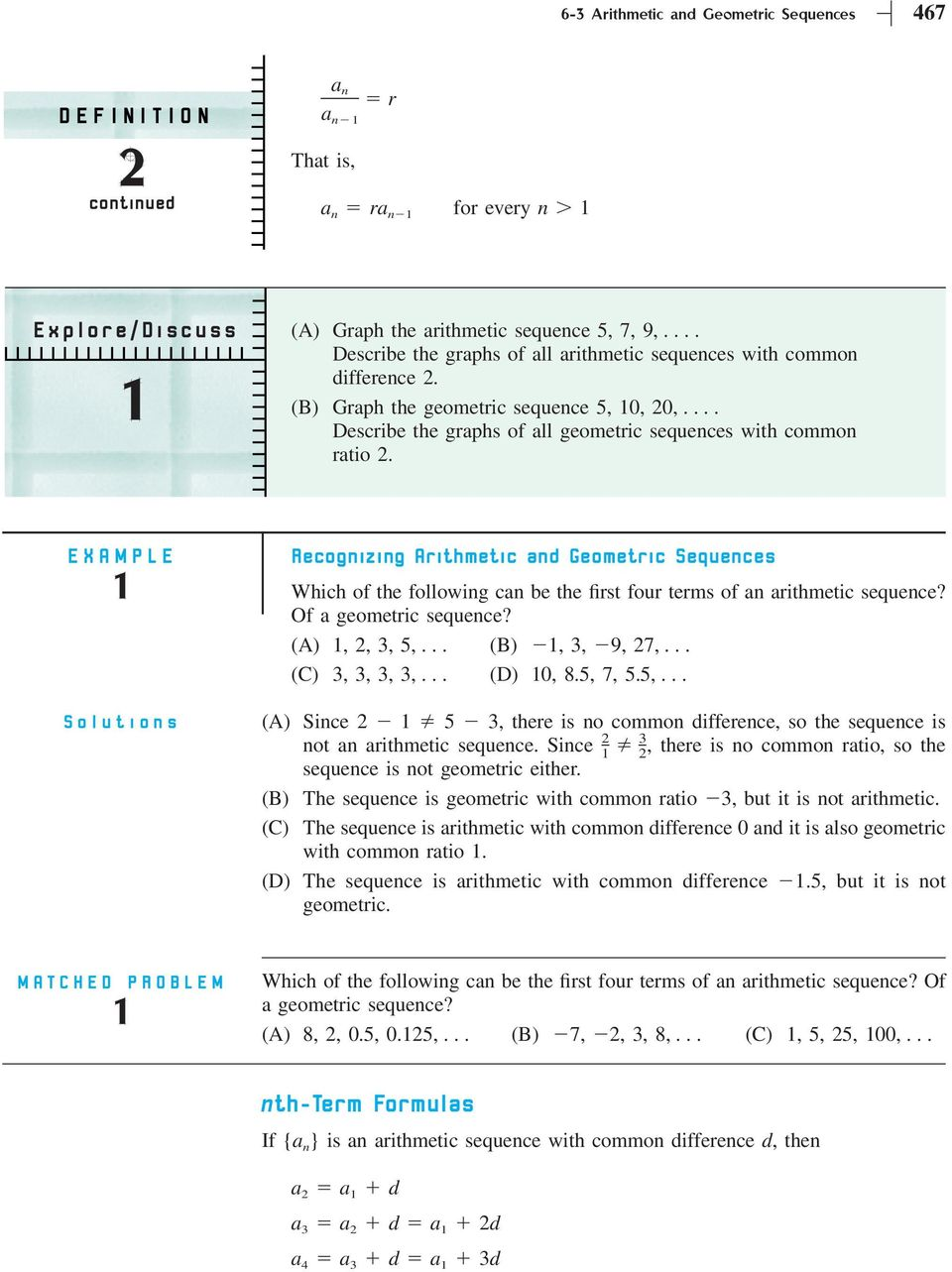 Section 6-3 Arithmetic and Geometric Sequences - PDF