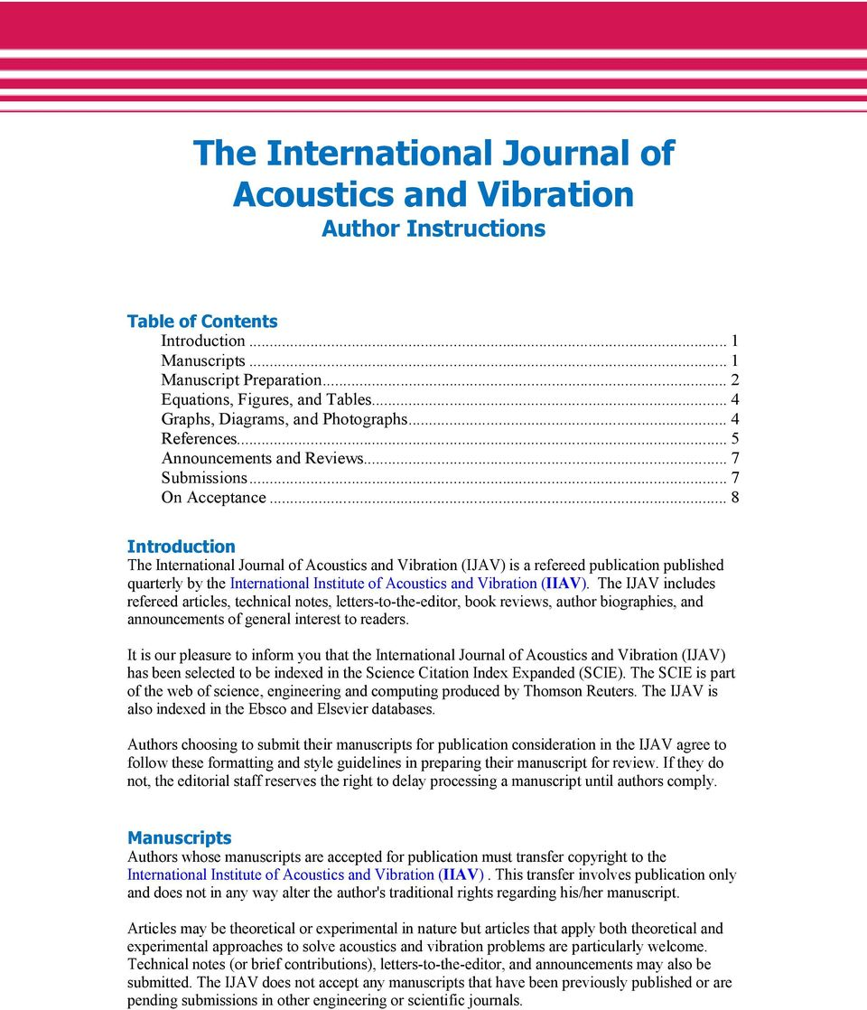 8 Introduction The International Journal Of Acoustics And Vibration IJAV Is A