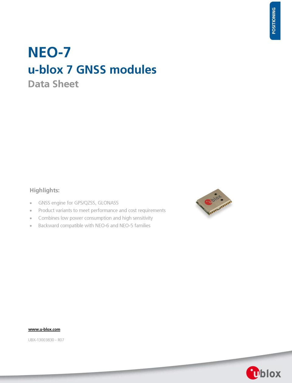 NEO-7  u-blox 7 GNSS modules  Data Sheet  Highlights: - PDF