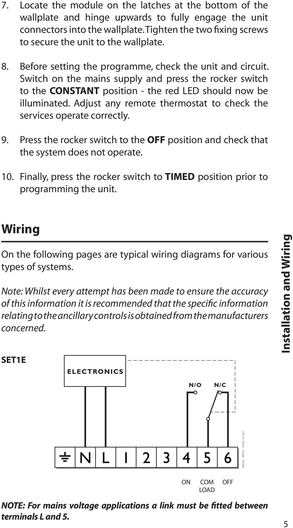 Set1e installation user instructions electronic timeswitch for switch on the mains supply and press the rocker switch to the constant position the freerunsca Images