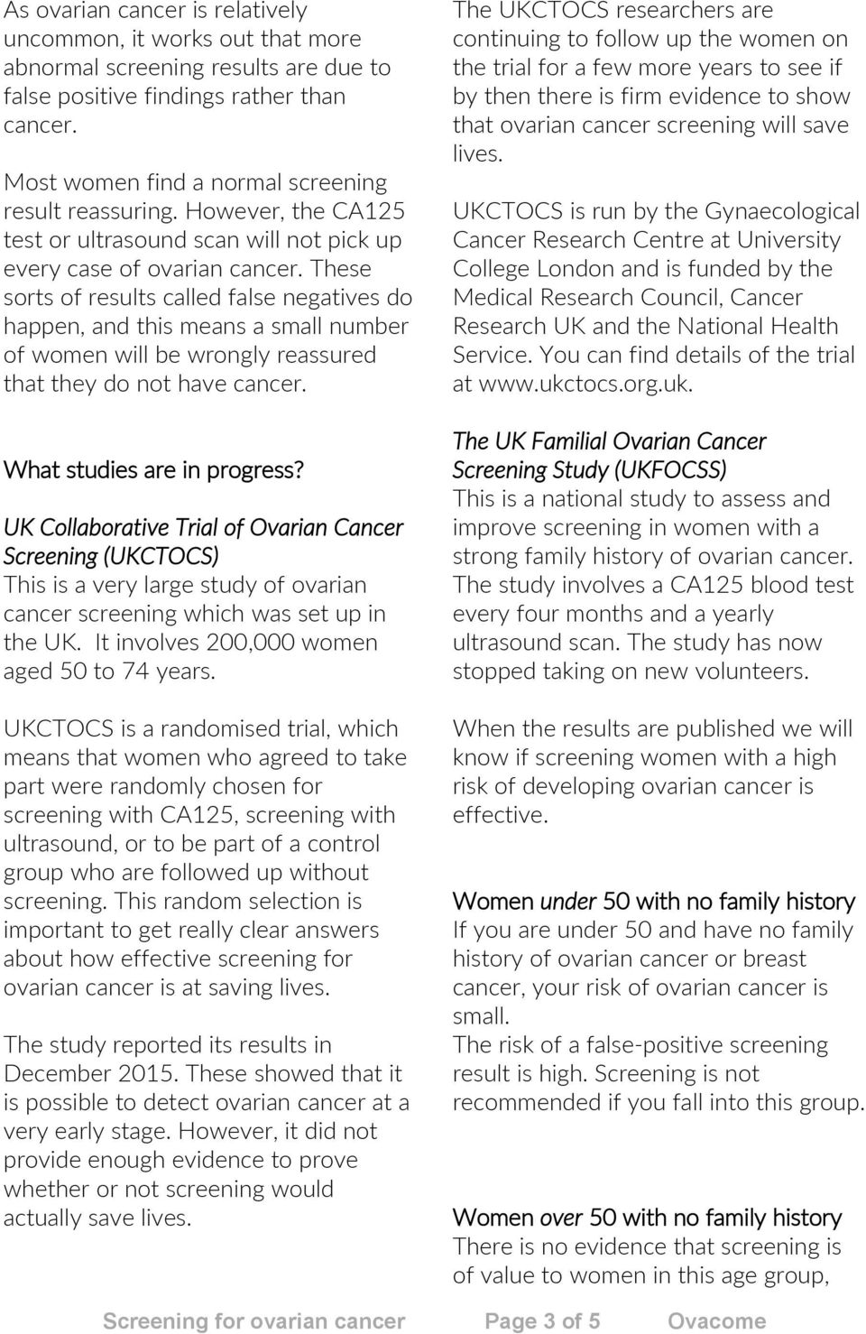 Screening For Ovarian Cancer Page 1 Of 5 Ovacome Pdf Free Download