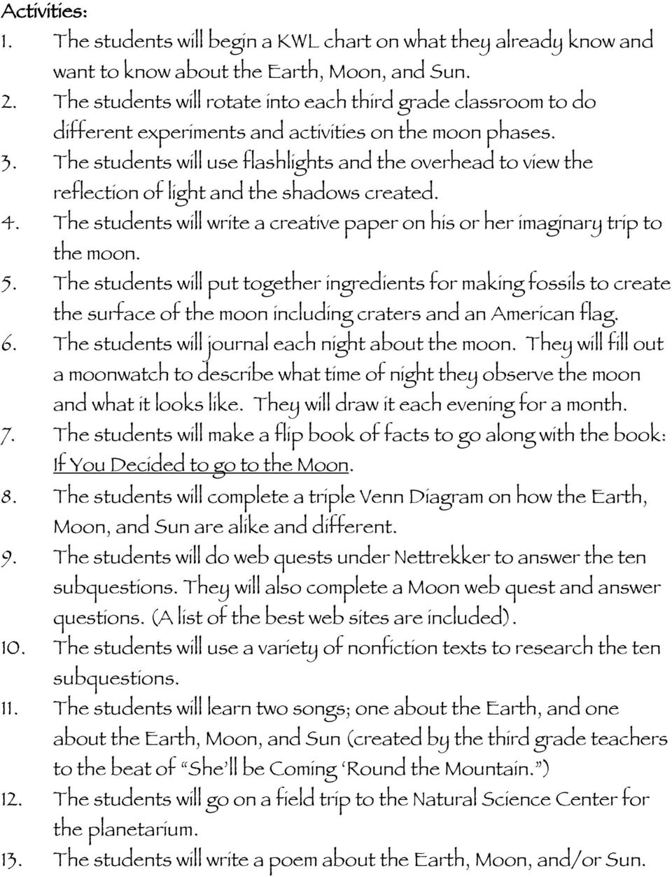 The students will use flashlights and the overhead to view the reflection of light and the shadows created. 4. The students will write a creative paper on his or her imaginary trip to the moon. 5.
