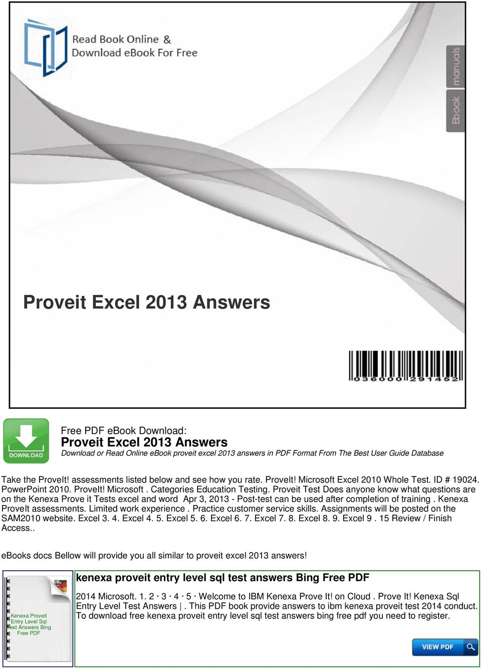 Proveit excel 2013 answers pdf proveit test does anyone know what questions are on the kenexa prove it tests excel and fandeluxe Image collections