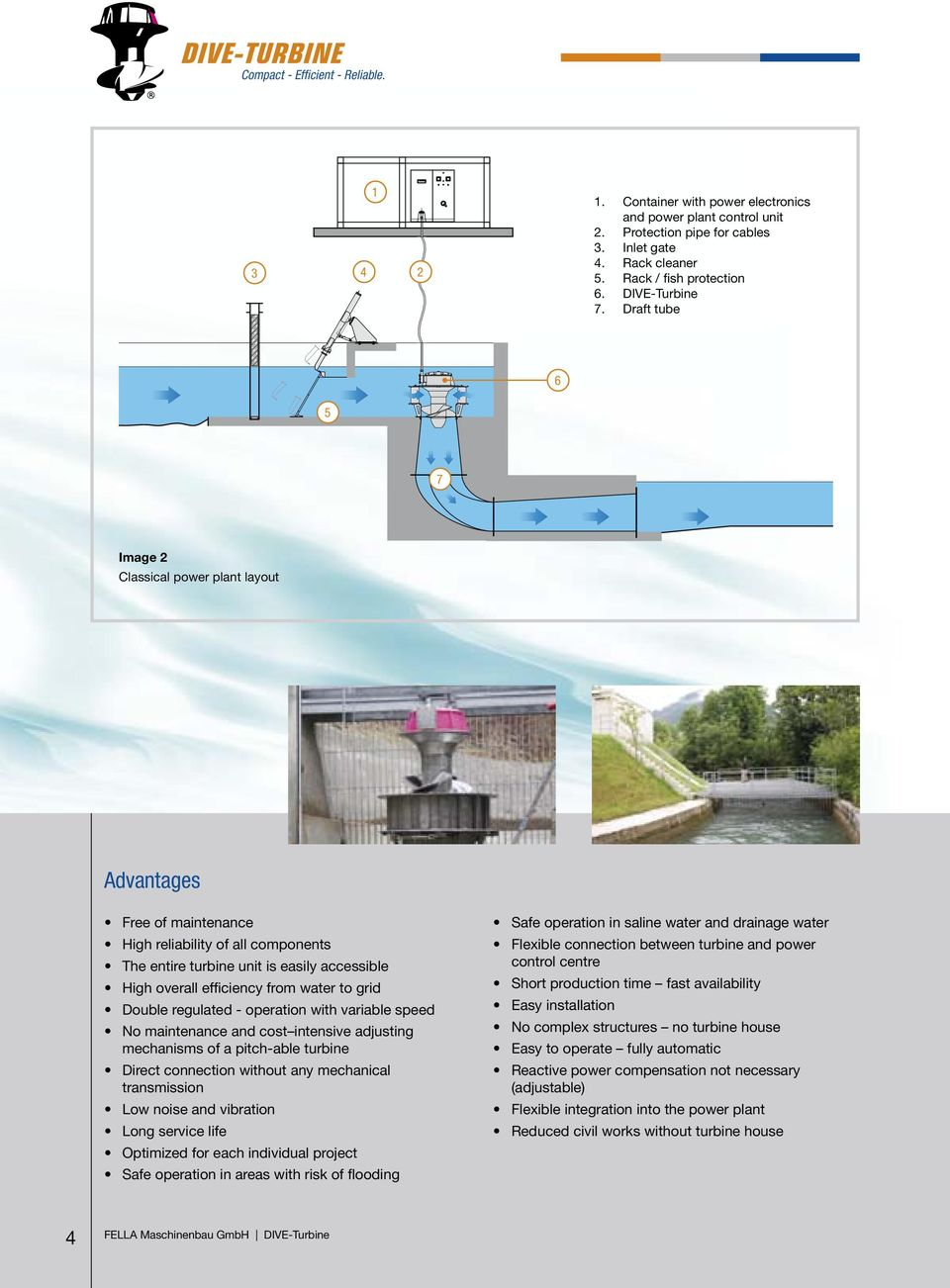 Compact Effi Cient Reliable Dive Turbine An Innovative Power Plant Layout Images To Grid Double Regulated Operation With Variable Speed No Maintenance And Cost Intensive Adjusting Mechanisms