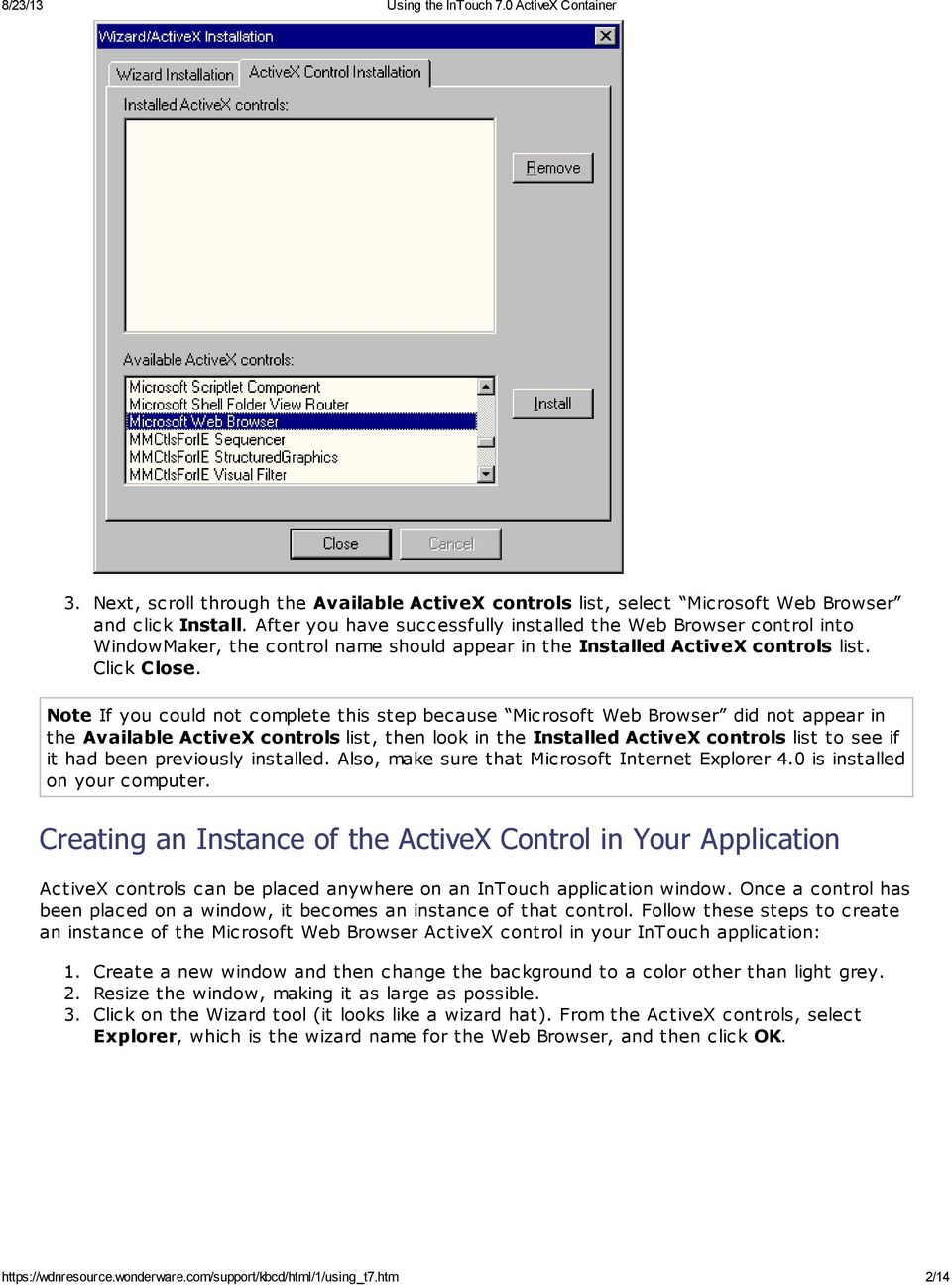 Installing An ActiveX Control in InTouch - PDF