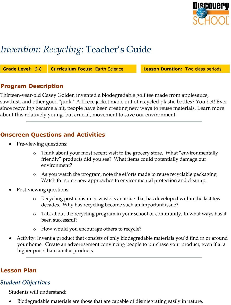 Invention: Recycling: Teacher s Guide - PDF