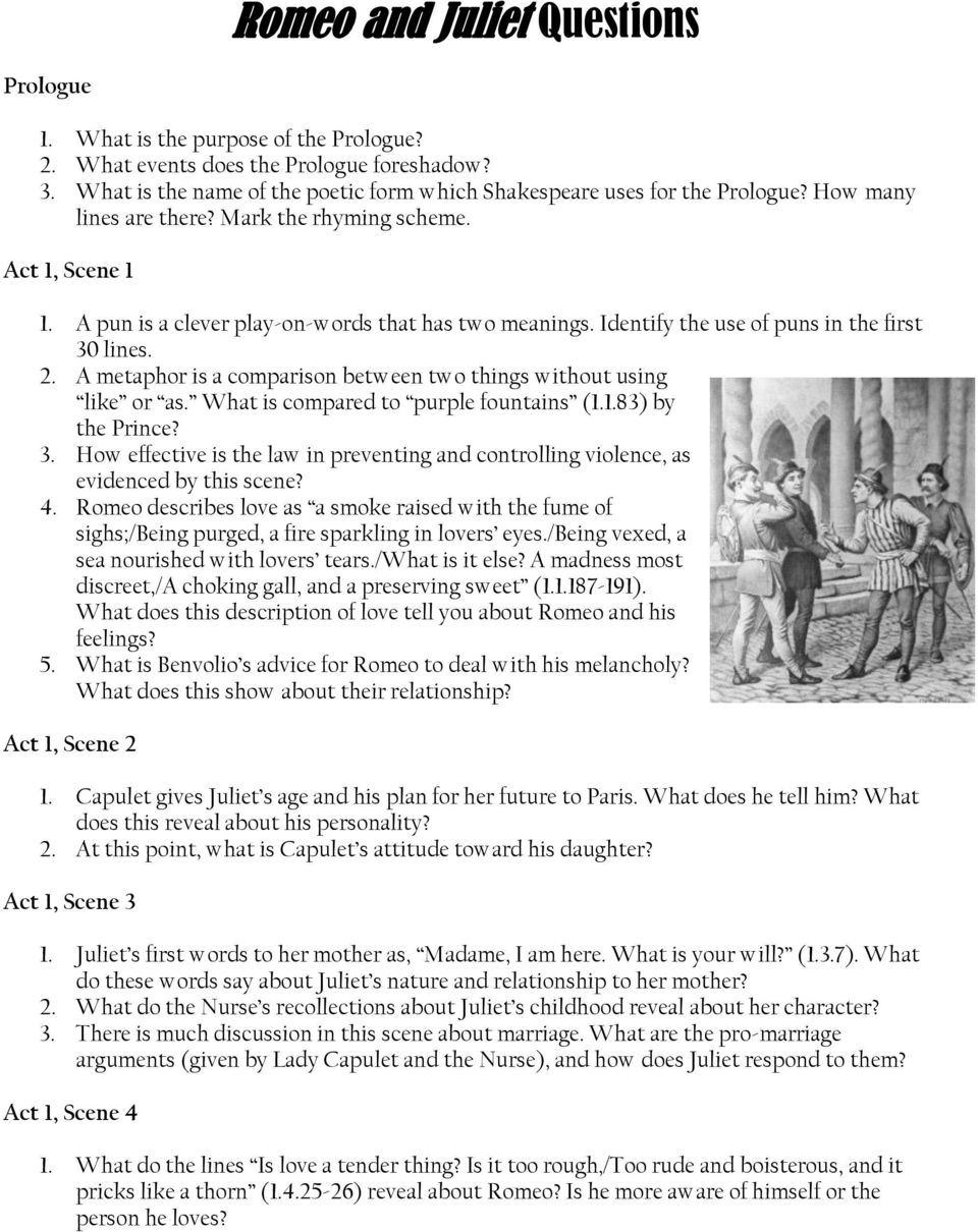Romeo and Juliet Questions - PDF