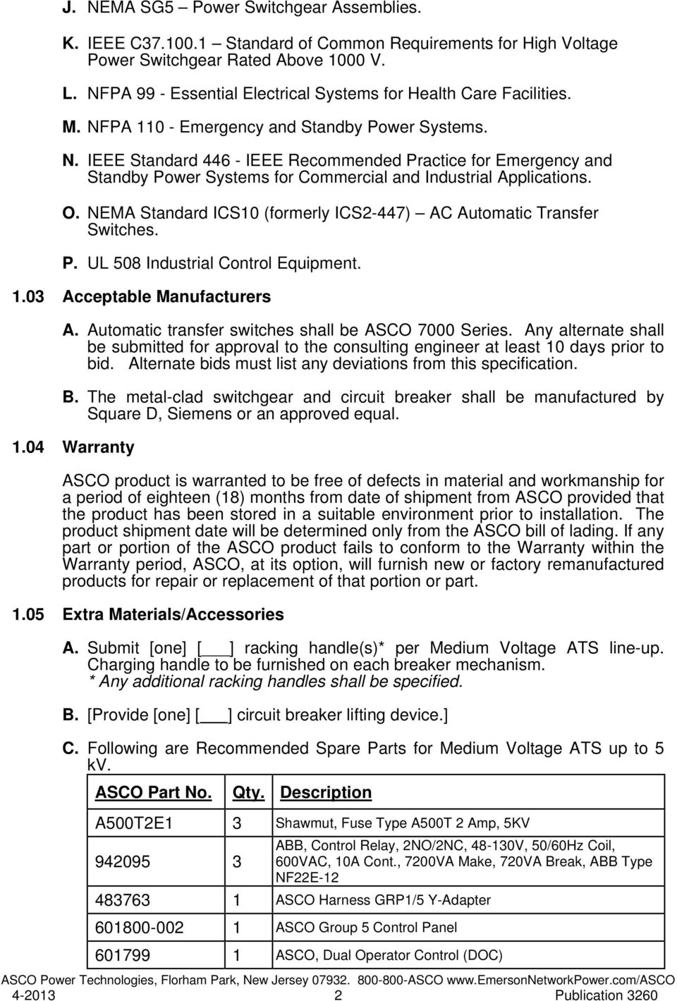 Suggested Specification For Medium Voltage Automatic Transfer Asco 7000 Wiring Diagram Pa 110 Emergency And Standby Power Systems N Ieee Standard 446
