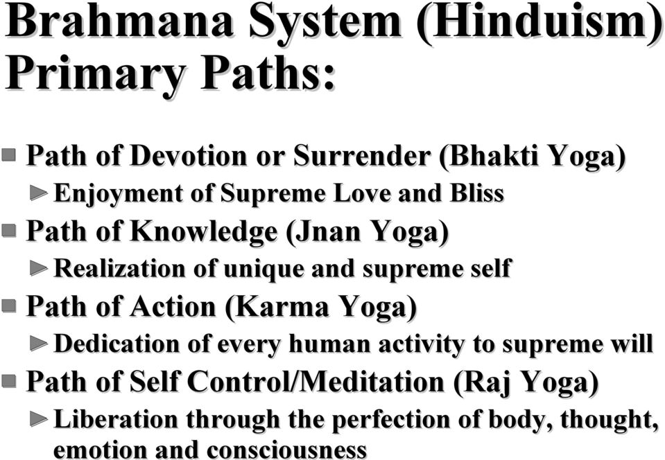 Path of Action (Karma Yoga) Dedication of every human activity to supreme will Path of Self