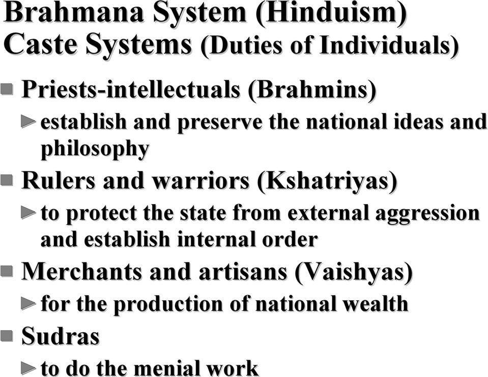 (Kshatriyas) to protect the state from external aggression and establish internal order