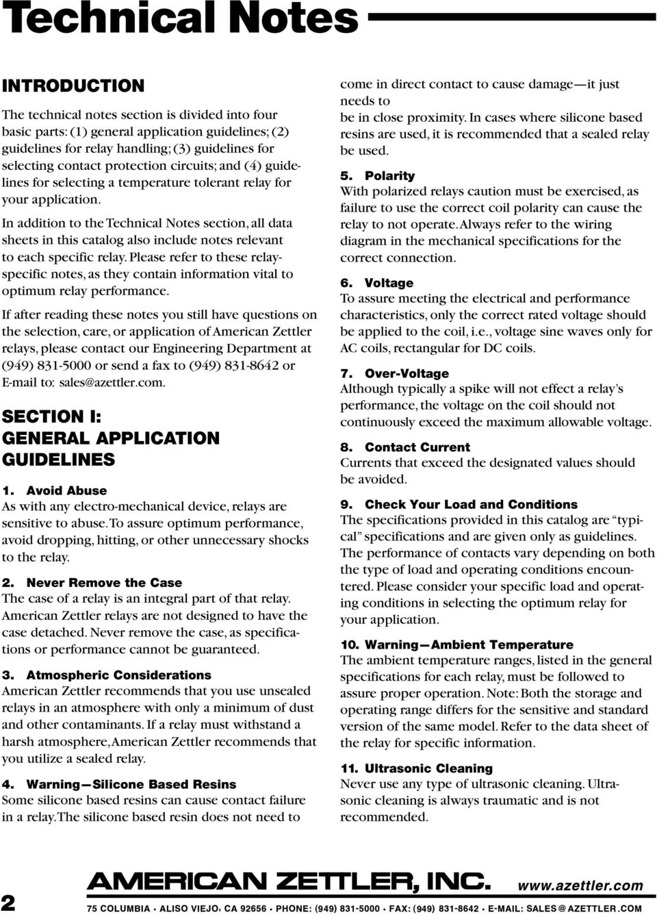 American Zettler Inc Relay Technical Notes Pdf Mechanical Wiring Diagram In Addition To The Section All Data Sheets This Catalog Also Include