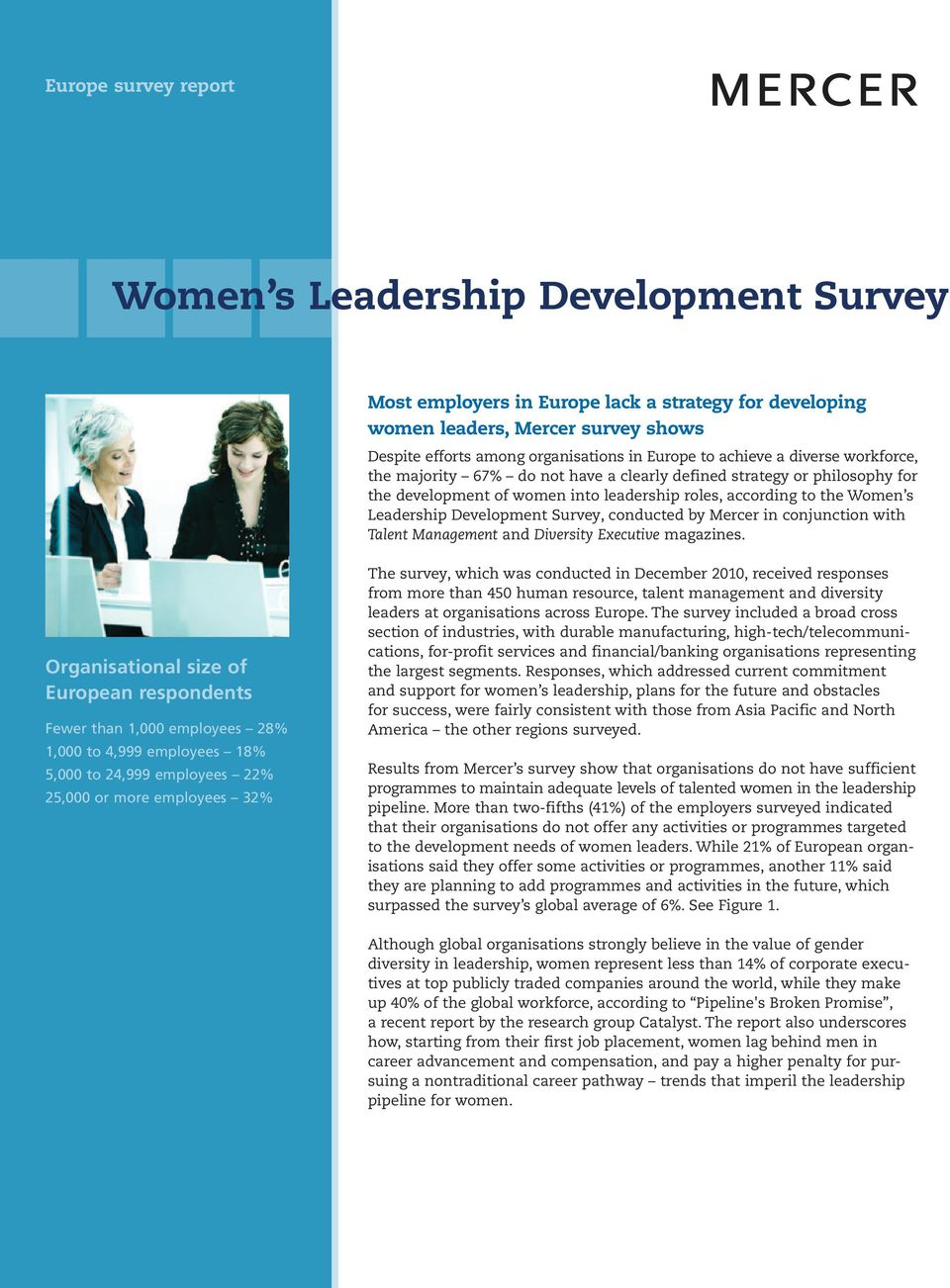 Survey, conducted by Mercer in conjunction with Talent Management and Diversity Executive magazines.