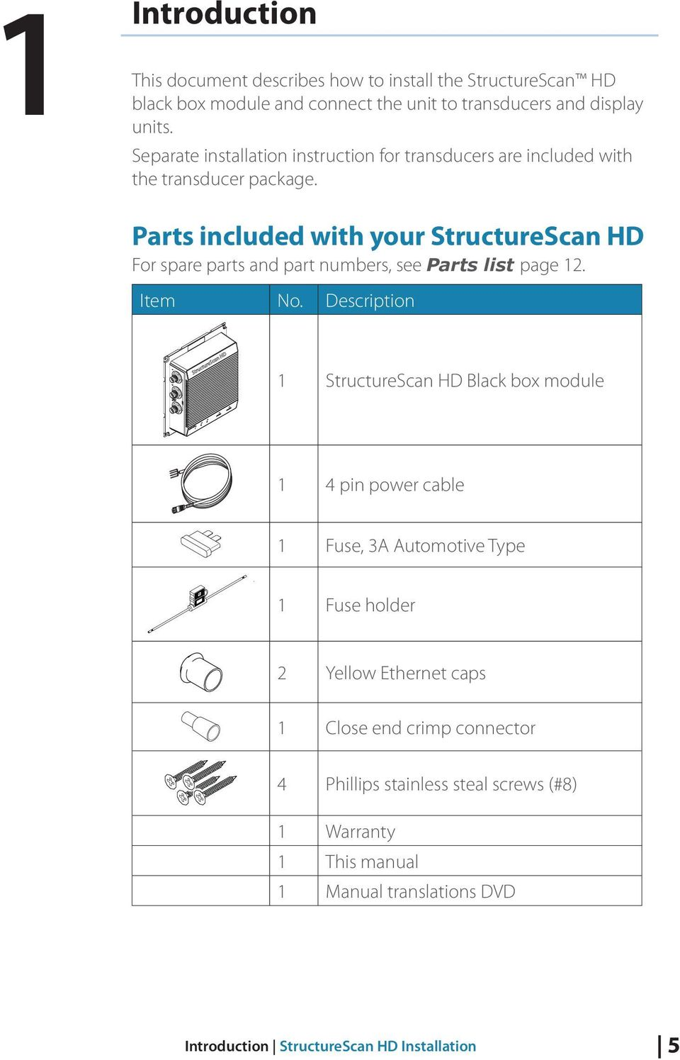 Parts included with your StructureScan HD For spare parts and part numbers, see Parts list page 12. Item No.