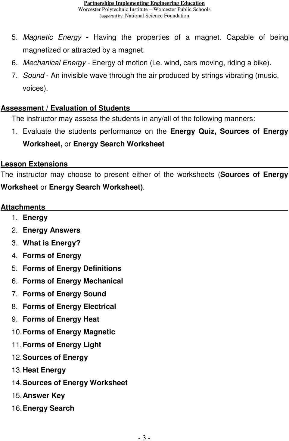 Energy: 4.C.1 Introduction to Energy - PDF